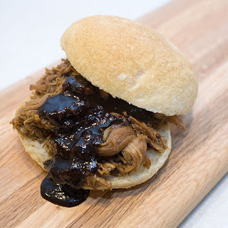 Slow Cooker Pulled Pork with Balsamic Barbecue Sauce.
