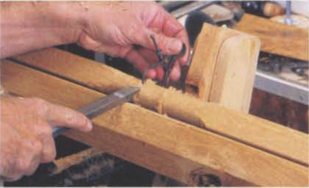 3. Using calipers and a cutoff tool, size to the final diameter of the spindle to each side of the steady rest.