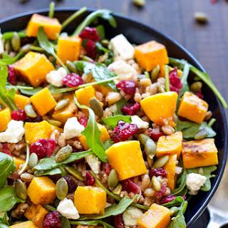 Butternut Squash Farro Salad with Arugula and Cranberries Recipe