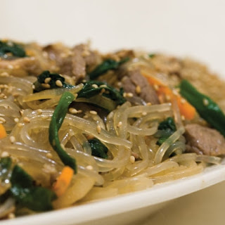 Jap Chae (Korean Clear Noodle Stir Fry).