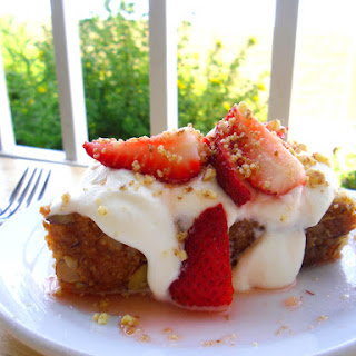 Almond Pound Cake Topped with Strawberries in Lemon Syrup