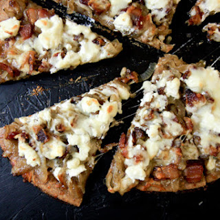 Caramelized Onion, Bacon and Goat Cheese Pizza.