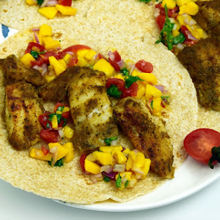 SPICY FISH TACOS WITH MANGO SALSA