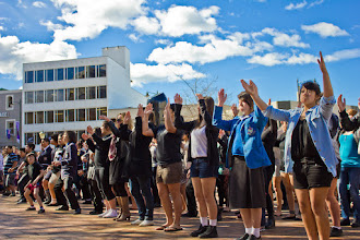 Photo: This Haka was performed by a group of Dunedin students in Dunedin's Octagon as a welcome to the Rugby World Cup fans. Dunedin, NZ.