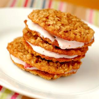 Strawberries and Cream Oatmeal Sandwich Cookies.