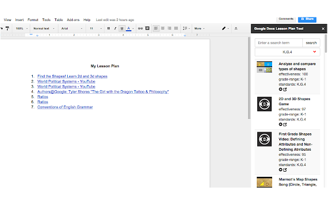lesson plan tool for docs google docs add on