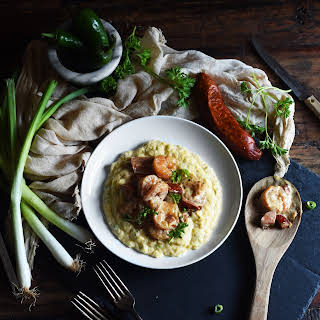 """Low-Carb Shrimp and """"Grits""""."""