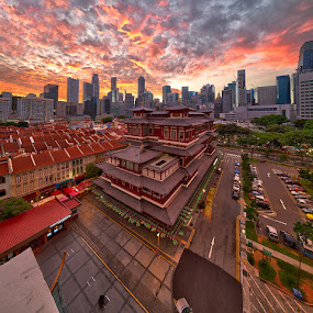 City under fire by Partha Roy - City,  Street & Park  Skylines ( structure, chinatown, buildings, sunrise, singapore, city )