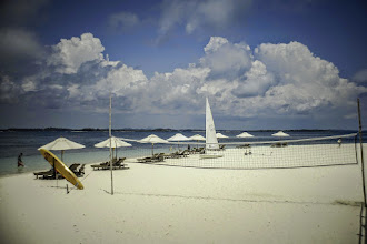 Photo: Beach with volley ball net