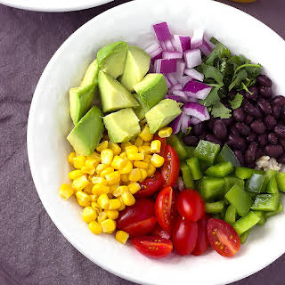 Black Bean & Brown Rice Bowls with Vinaigrette Dressing.