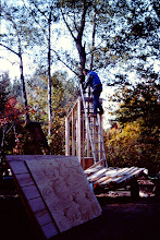 """Photo: """"First things first"""": building the outhouse."""
