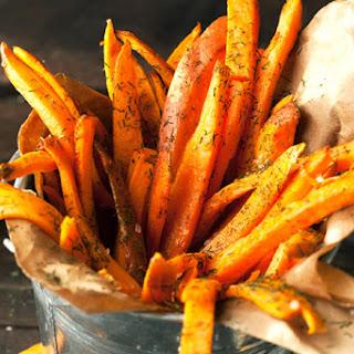 Baked Sweet Potato Fries with Avocado Greek Yogurt Dip Recipe