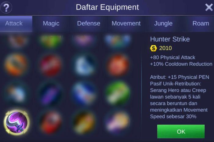 Attribut Daftar Hunter Strike Di Mobile Legends