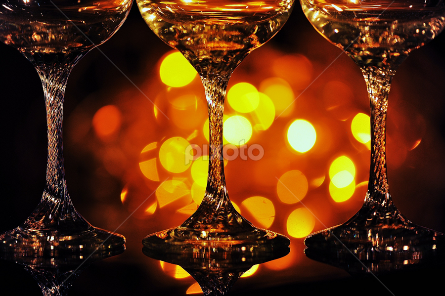 Glasses by Vineet Johri - Artistic Objects Still Life ( lights, vkumar, colors, glass, pwcstilllife, bokeh, Alcohol, booze, spirits  )
