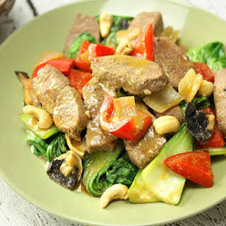 Thai Lamb Stir Fry with Cashews.