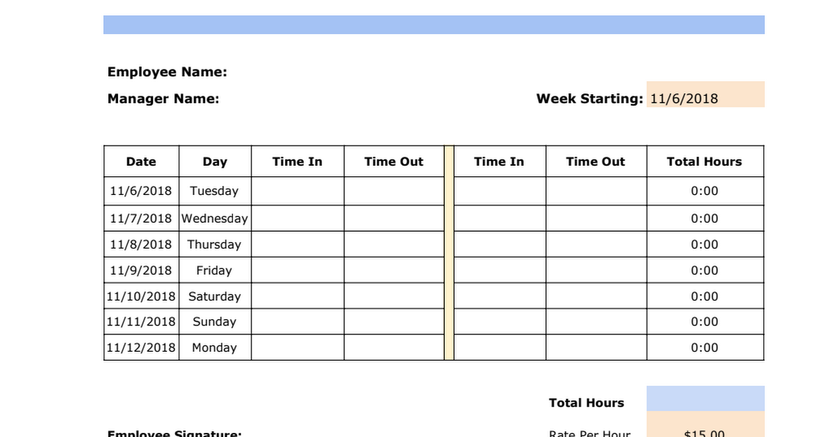 weekly timesheet template google sheets
