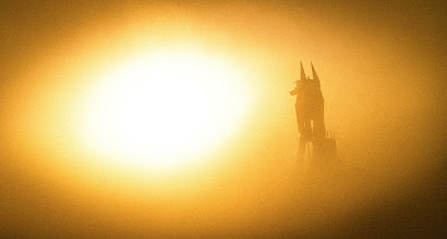Photo: Anubis and the Sandstorm Afterlife  The ancient Egyptian god towered over the desert of Burning Man in the middle of an afternoon sandstorm. I was riding my bike across the playa when the sandstorm hit. The conditions were so bad I could not travel any more, and I had no shelter, so I just cowered down here and pulled out my camera to take pictures of what I could see...