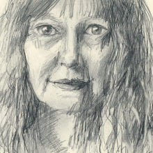 "Photo: Self-Portrait Study 4, 21cm x 29cm, 8"" x 11.5"", 2012, Moleskine folio Sketchbook, graphite."