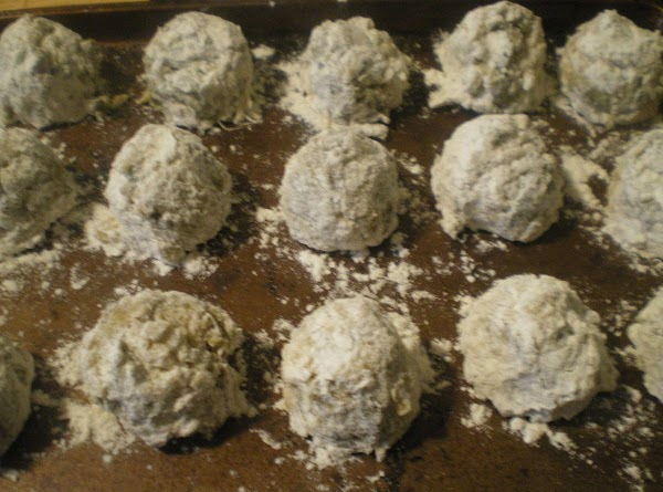 """In a shallow bowl add flour.  Scoop using 1 1/2"""" cookie scoop and..."""
