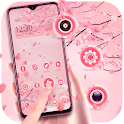 Emotion theme beautiful pink flower icon
