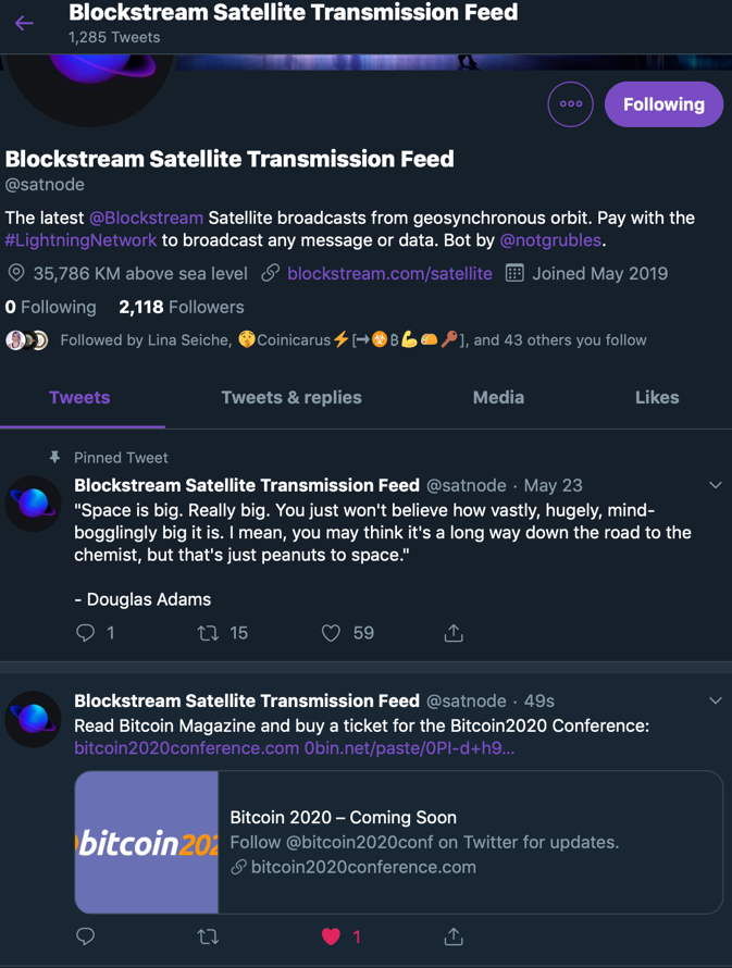 Messaging via Blockstream's Satellite: Lightning's Killer App?