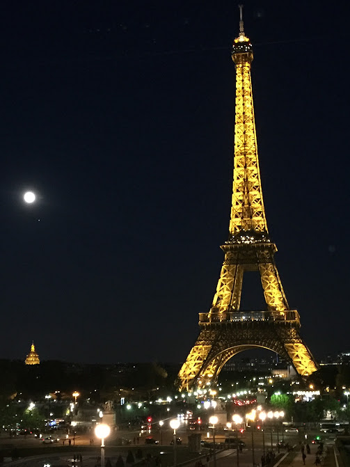 The tower at night.