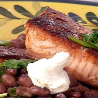 Blackened Salmon with Spinach and Soy Black Beans.