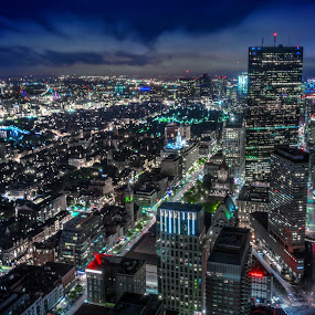 Boston Aerial by Hoover Tung - City,  Street & Park  Night ( skyline, harbor, america, metropolis, states, cityscape, usa, historic, city, of, boston, skyscraper, district, sightseeing, financial, building, united, back, aerial, tourism, massachusetts, urban, landmark, bay, sunset, night, view )