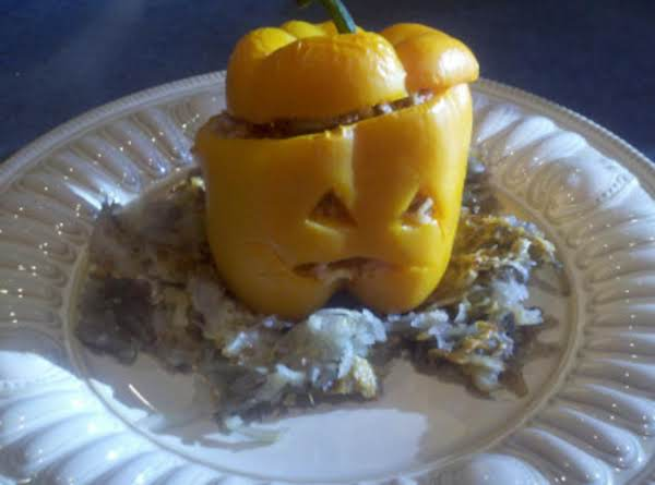 Jack-o-lantern Stuffed Peppers Are Healthy And Fun To Eat!