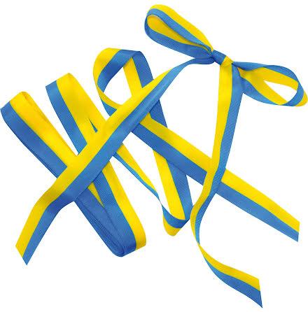 Satinband blå & gul 15mmx5m