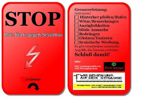 Photo: Red Card against sexism, distributed in Dortmund, Germany by ProChange