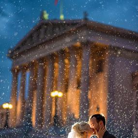 Let it Rain by Marius Igas - Wedding Bride & Groom ( love, vienna, wedding, bride, groom, austria, rain )