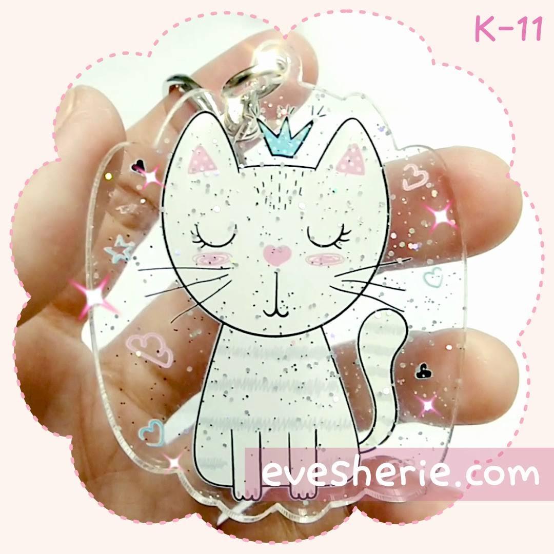 พวงกุญแจ แมว สีชมพู พาสเทล น่ารัก cute pink pastel cat keychain