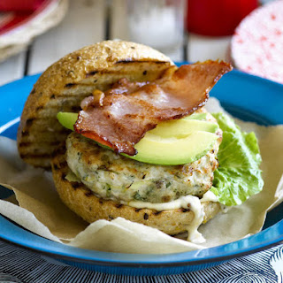 Chicken Burgers with Avocado and Bacon.