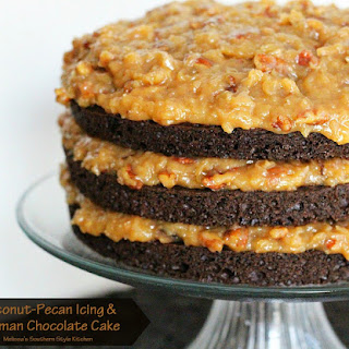 Coconut-Pecan Icing And German Chocolate Cake.