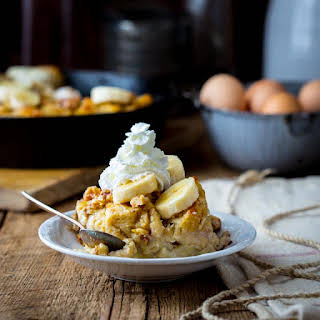 Greek Yogurt Banana Maple Bread Pudding.