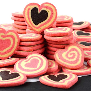 Chocolate and Pink Heart Pinwheel Cookies
