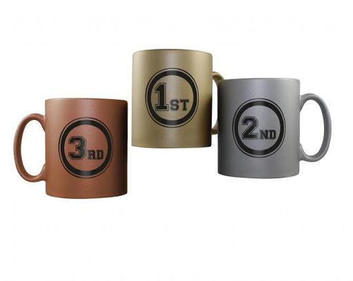 Olympic Mugs Gold Silver Bronze