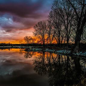 Nebraska Solstice by Bruce Thiel - Landscapes Sunsets & Sunrises ( clouds, #lake, sunset, trees, lake, #sunset,  )