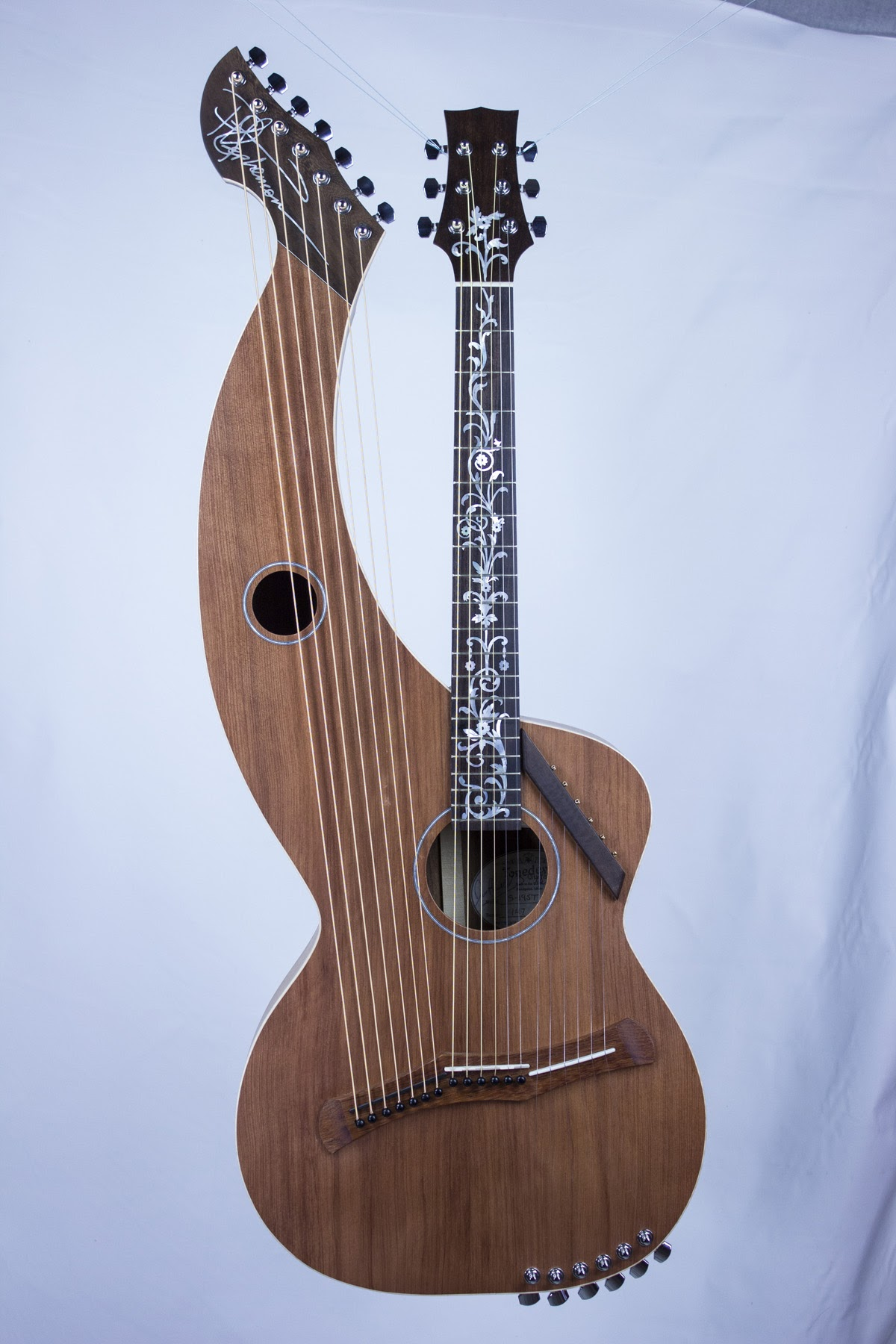 Deluxe redwood top harp guitar with super trebles