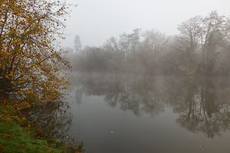 Photo: Thames River on a foggy fall morning.