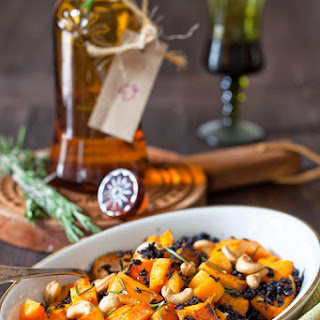 Roasted Rosemary Pumpkin with Black Rice & Cashew Nuts.