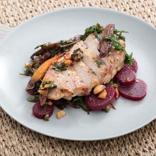 Center-Cut Pork Chops with Warm Beet, Carrot & Hazelnut Salad