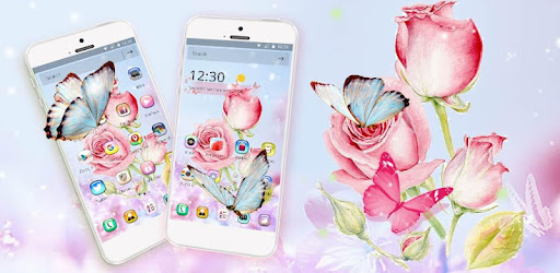 Pink Rose Butterfly Theme app (apk) free download for Android/PC/Windows screenshot