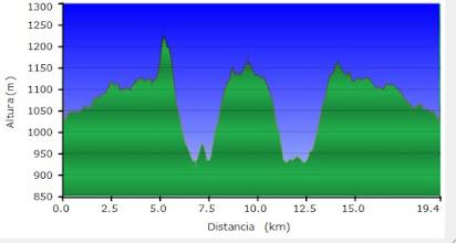 Photo: Grafico del Carondio y Gargalois desde el Alto Bustantigo      Distancia 19,4 Km     Ascenso Total 1028 m    Descenso Total  1075 m      Altura Maxima 1222 m   Altura Minima 929 m   Tiempo  6,59,39 Horas