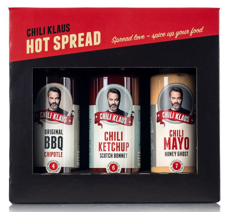 Hot Spread – presentförpackning BBQ, ketchup & majonnäs – Chili Klaus