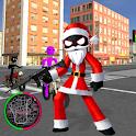 Santa Claus Stickman Rope Hero Gangstar Snowman icon