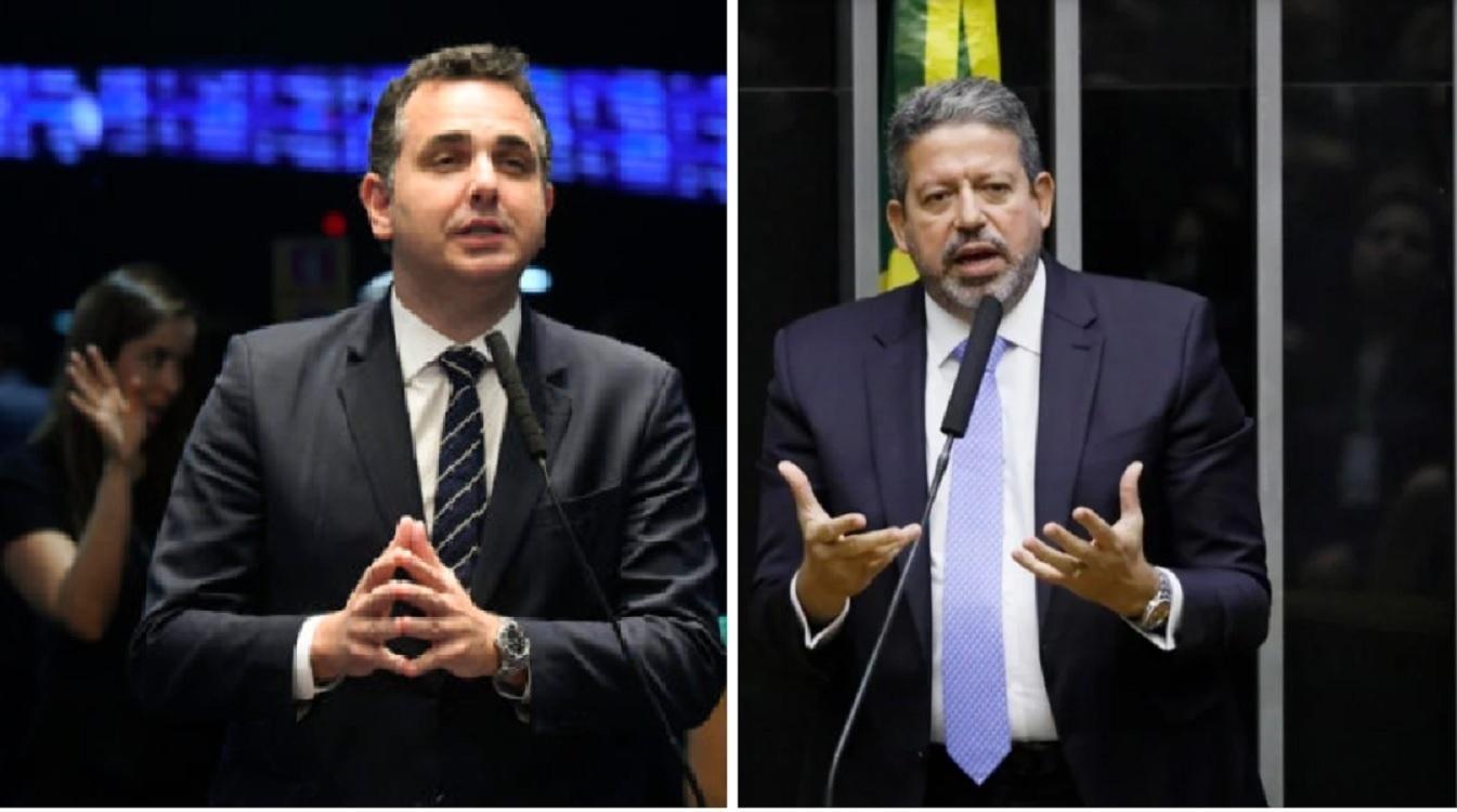À esquerda, Rodrigo Pacheco. À direita, Arthur Lira.