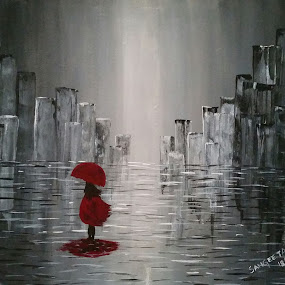 Girl in Rain by Sangeeta Paul - Painting All Painting