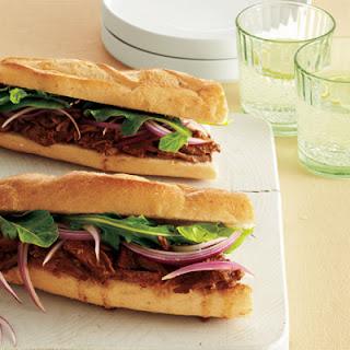 Lamb Sandwiches with Red Onion & Arugula.